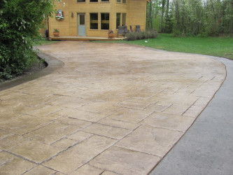 Stamped Concrete Driveway with Stamped Borders Edmonton