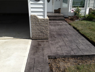 Broom Finish Driveway with Stamped Borders Edmonton