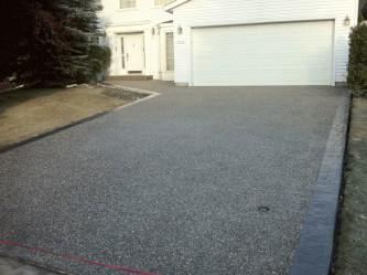 Exposed Aggregate Driveway with Stamped Borders Edmonton