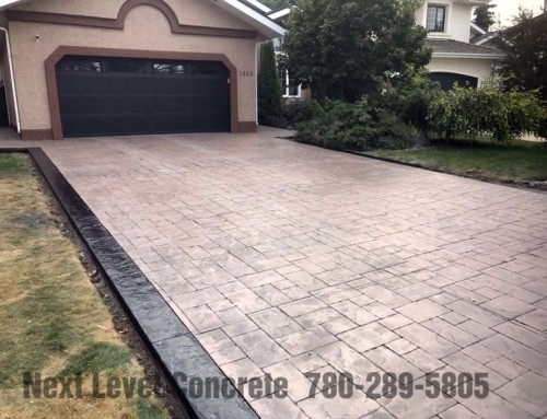 Edmonton Stamped Concrete Driveway with Stamped Borders